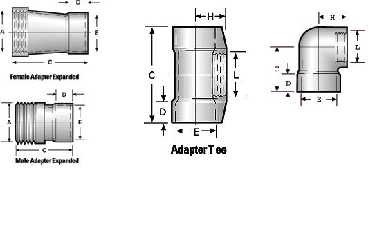 Standard Adapters, Male, Female Expanded, Elbow, Tees